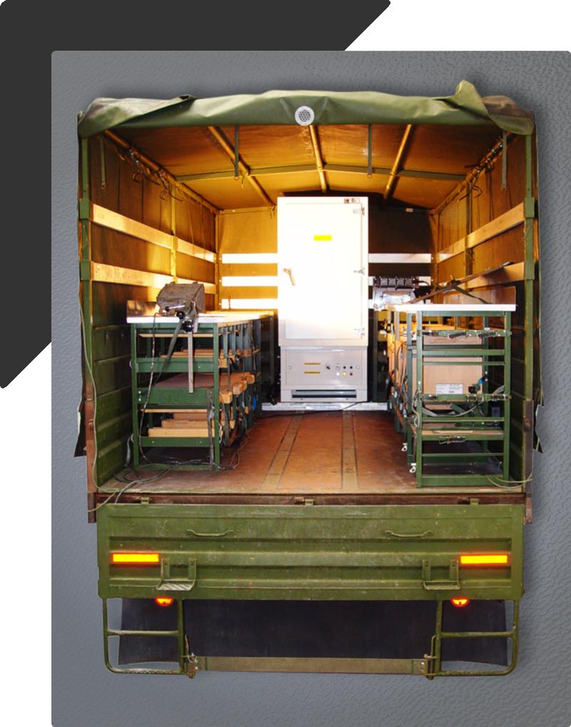 Transportkühlschrank montiert auf Bundeswehr Fahrzeug